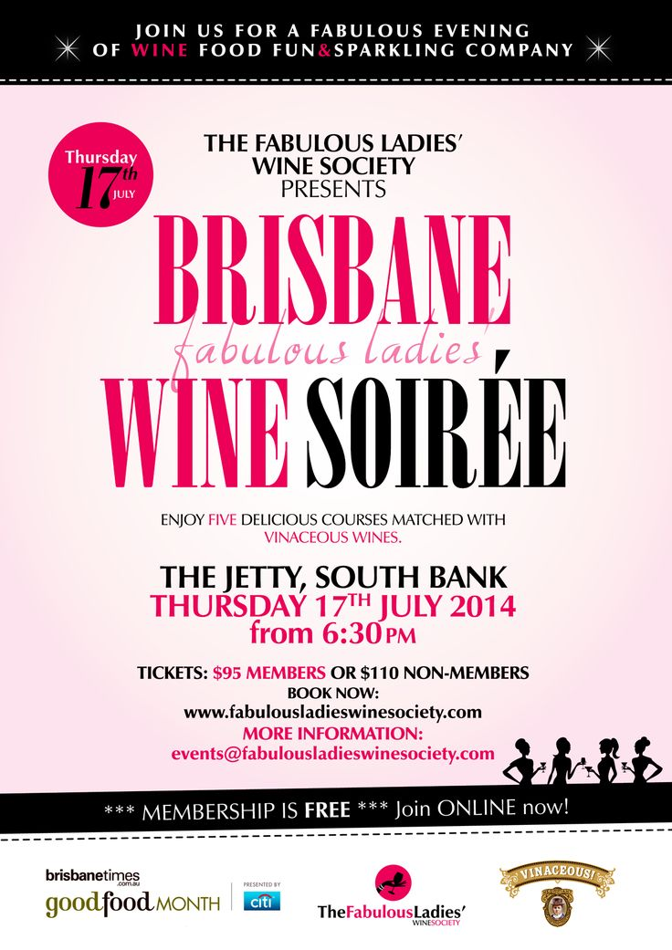 Brisbane Fabulous Ladies Wine Soiree Thursday 18th July with Vinaceous Wines.  Get your tix now: http://fabulousladieswinesociety.com/2014/05/brisbane-fabulous-ladies-wine-soiree-thursday-17-july-2014/