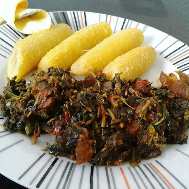Lunch Idea: Boiled Plantain With Nigerian Efo Riro. http://www.nigerianfoodies.com/2016/05/lunch-idea-boiled-plantain-with.html?m=1