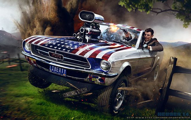 Illustration Of Ronald Reagan Driving Off Road And Wreaking Havoc
