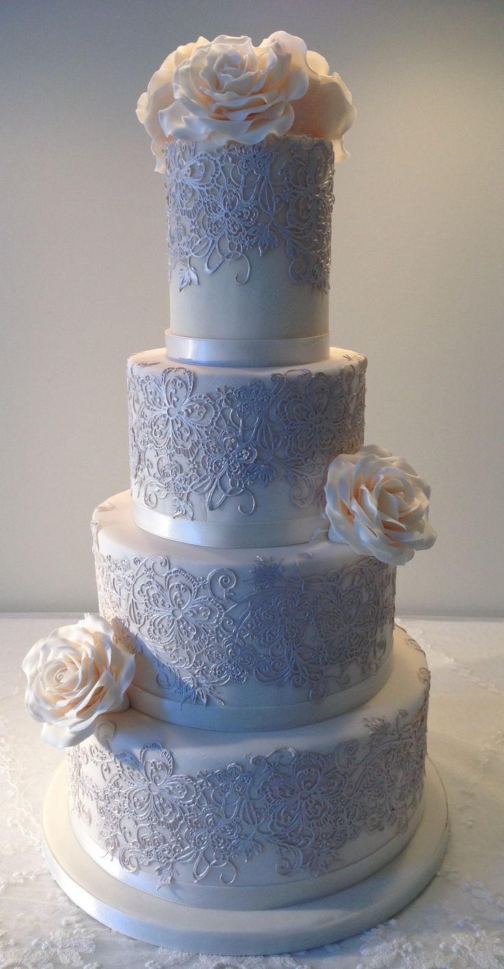 Rose and lace wedding cake by Plumtree Bakehouse