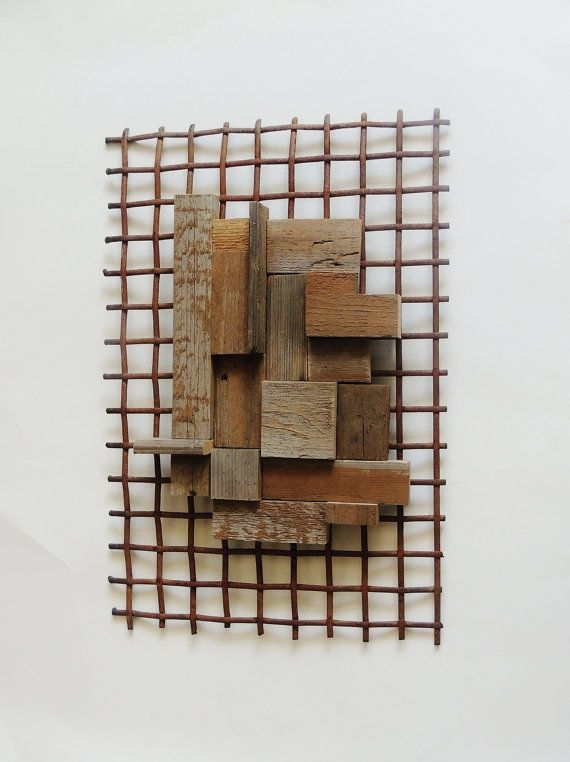off the grid reclaimed steel sculpture recycled wood wall hanging industrial wall sculpture barn wood wall art rustic modern wall art