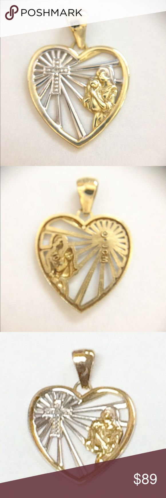 10k Gold Cross Heart Mary Jesus Necklace Pendant Beautiful two tone 10k yellow and white gold heart necklace pendant. Inside the heart has a Cross and Mother Mary holding Baby Jesus. Jewelry Necklaces