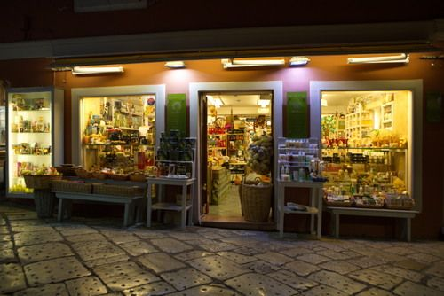 the land of Corfu at night