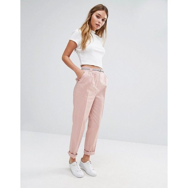 Oasis Belted Peg Pants (40 CAD) ❤ liked on Polyvore featuring pants, pink, high rise pants, high-waist trousers, high waisted loose pants, stretch pants and loose fitting pants