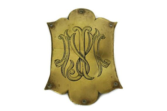 Antique Luggage Tag. Bronze Plaque with French Monogram