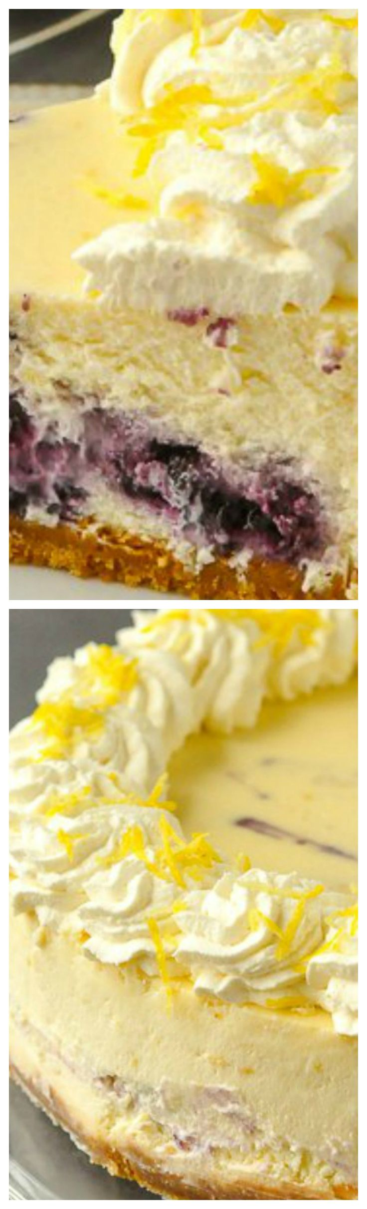 Lemon Blueberry Swirl Cheesecake ~ Two extremely complimentary flavours come together deliciously when a blueberry compote gets swirled through a creamy lemon cheesecake.