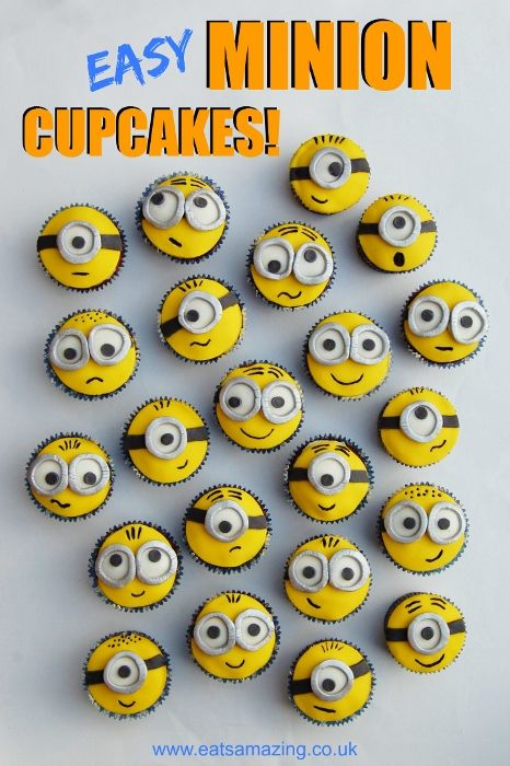 Easy Minion Cupcakes - 25+ minion party ideas - NoBiggie.net