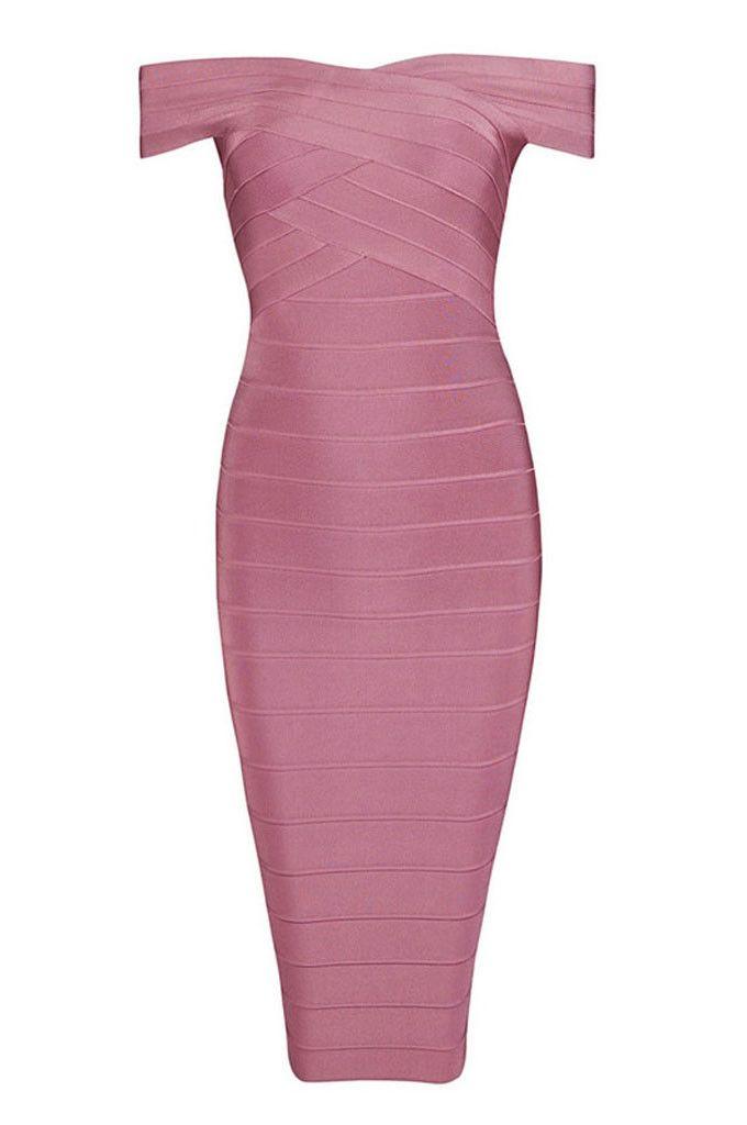 Off Shoulder Celebrity Pink Bandage Dress