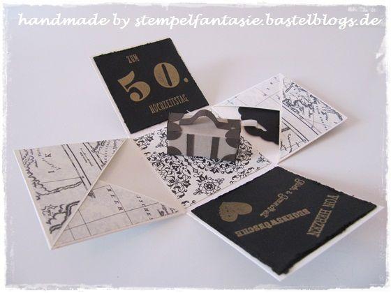 Explosionsbox Goldene Hochzeit Koffer Erstausgabe schwarz-weiß Reise Stampin`Up!1