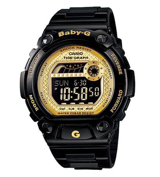 Womens Watches - Casio BLX100-1C Women's Baby-G Black Resin Yellow Dial World Timer Alarm Watch 1160 grn