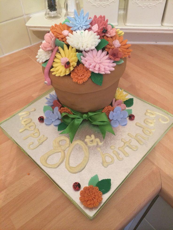 Plant pot gardening 80th birthday cake