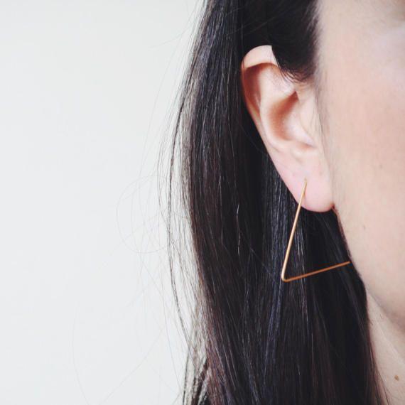 Triangle earrings delicate earrings gold plated earring