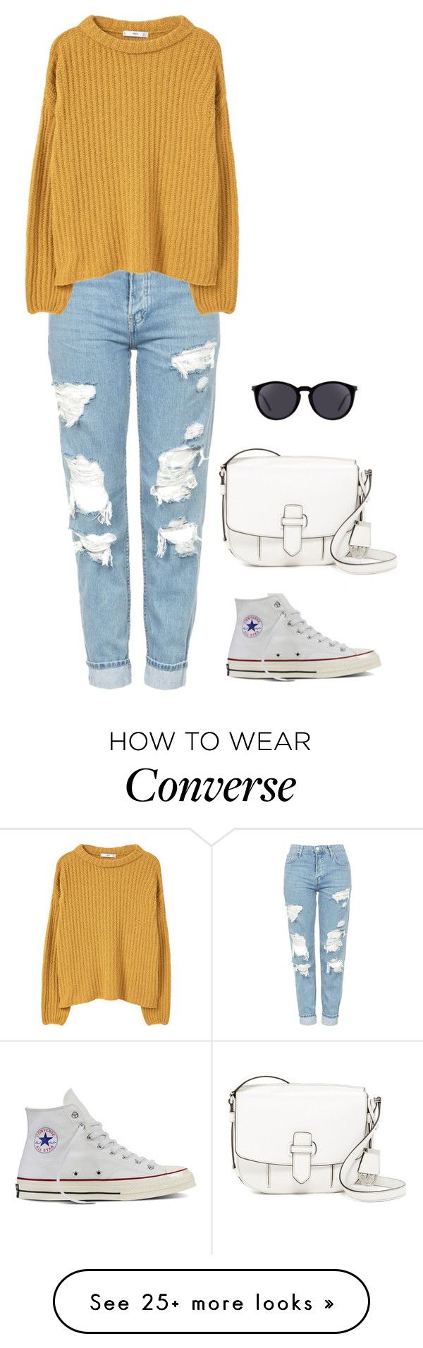 """Untitled #1385"" by r-redstall on Polyvore featuring Topshop, MANGO, Converse, MICHAEL Michael Kors and Yves Saint Laurent"
