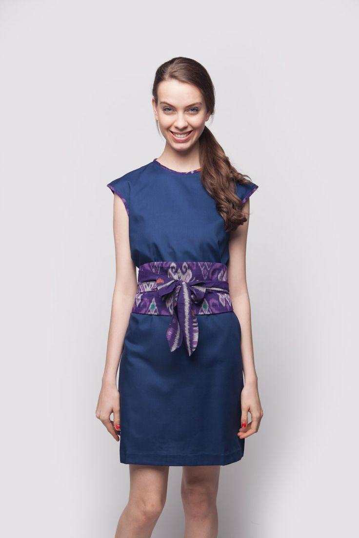 Plain Obi Dress Blue