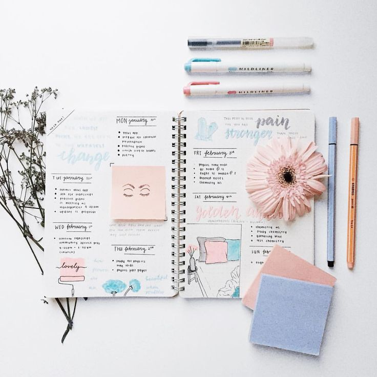 """1,183 Likes, 29 Comments - Josephene ☕︎ (@intellectants) on Instagram: """"this week's bullet journal spread feat. my attempt at a rose quartz x serenity color scheme. didn't…"""""""