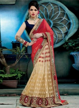 Markable Red And Cream Faux Georgette With Net Embroidery Work Lehenga Saree