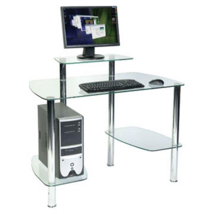 Staples Glass Computer Desk Desk Wall Art Ideas Dengan Gambar