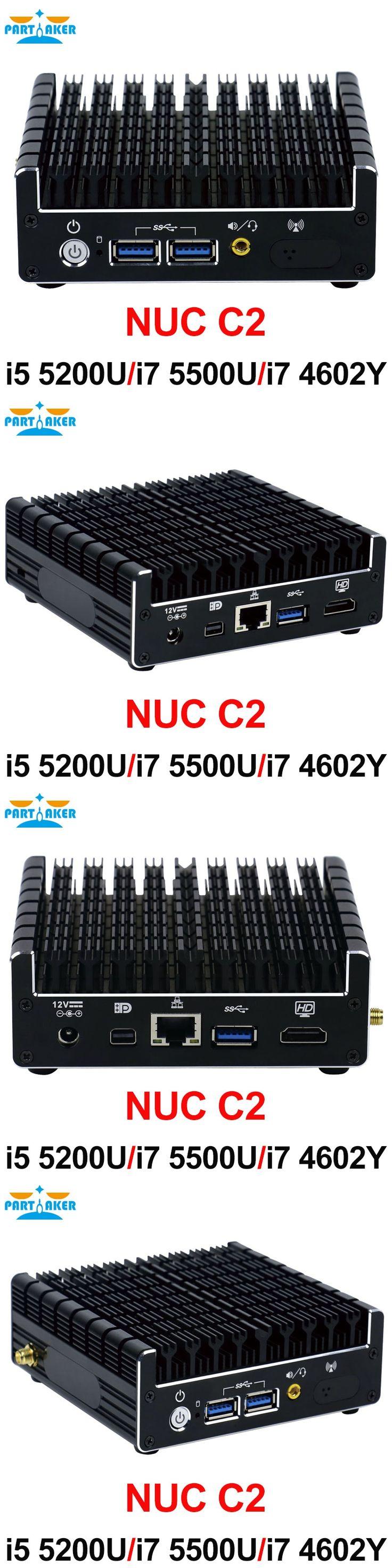 Partaker NUC Mini PC Fanless Mini PC I5-5200U I5 5300U I7 5550U with 1*Mini DP HDMI LAN