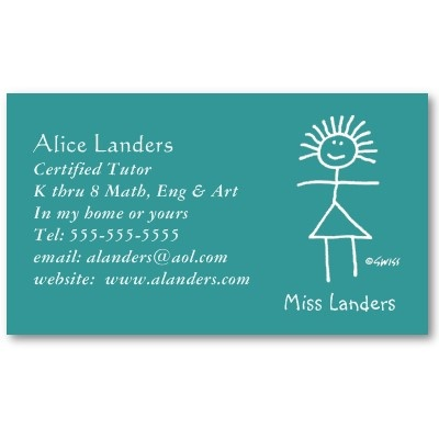Elementary Tutor Teacher Business Card Customizable.  Hand 'em out at PTA meetings. Earn all summer long. Great for sub teachers, too.  Enter name and contact info in the slot provided.