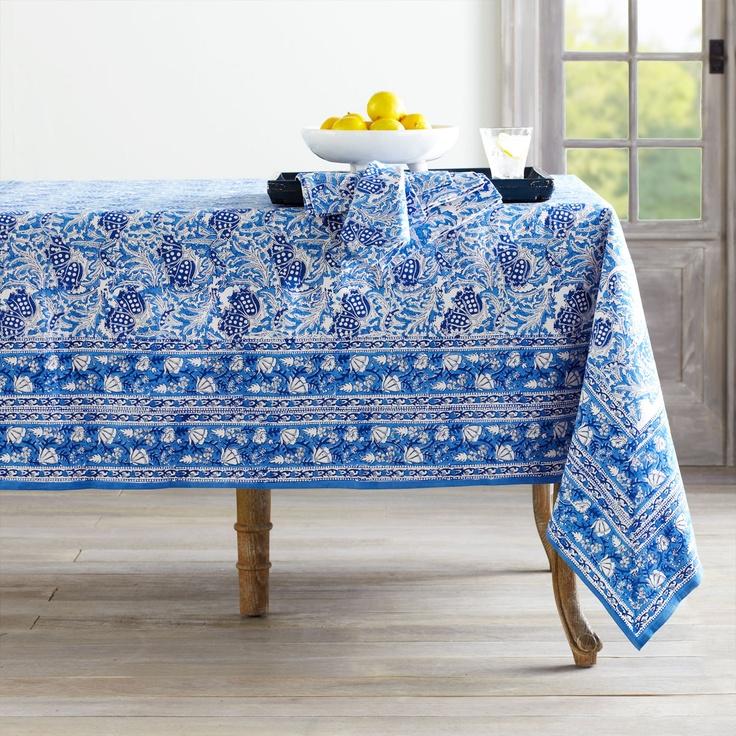 WisteriaWoodblock Print Tablecloth – Vine Linens