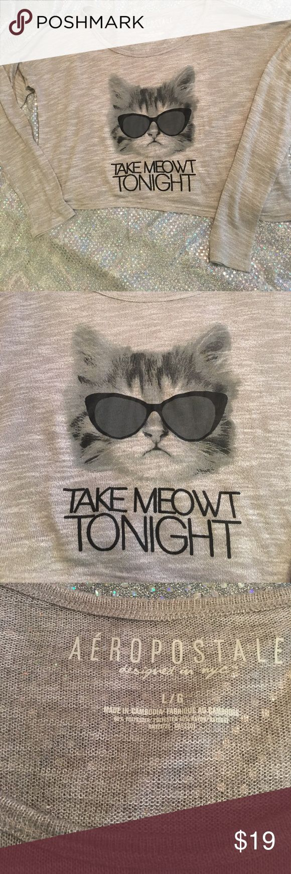 """A Very Cute Novelty Cat long Crop """"Take Meowt """" Aeropostale Long Sleeve thin crop top Tee that says """"TAKE MEOWT TONIGHT"""" ! Very cute cat face with glasses on the front. Size is Large Aeropostale Tops Crop Tops"""
