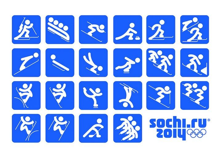 Winter Olympics 2014 Pictograms, art, design  -- use these on nametags (kids pick out their favorite winter sports and glue to fun foam name tag)