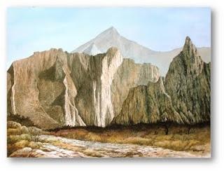 Acuarela of Efrén Nogueira of a landscape in La Huasteca,Nuevo León, México