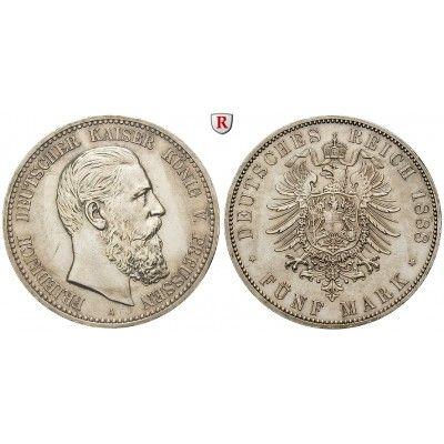 Deutsches Kaiserreich, Preussen, Friedrich III., 5 Mark 1888, A, ss-vz/vz, J. 99: Friedrich III. 1888. 5 Mark 1888 A. J. 99; sehr… #coins