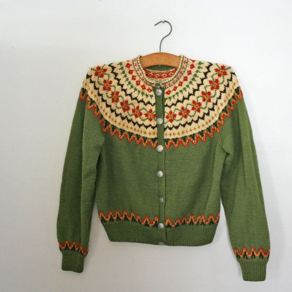 vintage 50s Norwegian Olive Green Fair Isle Wool Ladies Button Down Cardigan. $68.00, via Etsy.