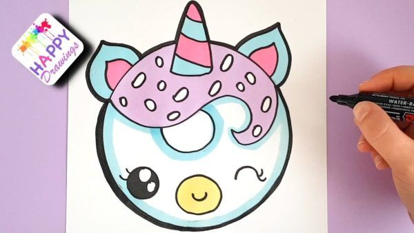 How To Draw A Unicorn Donut Easy Step By Step With Images