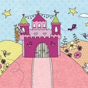 Princes in kleurig kasteel kijkt uit over de heuvel