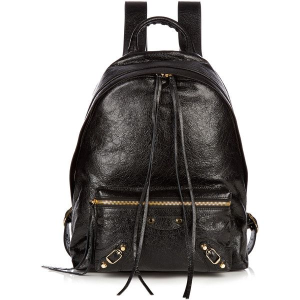 Balenciaga Classic Arena leather backpack ($1,695) ❤ liked on Polyvore featuring bags, backpacks, black, genuine leather backpack, buckle backpack, tablet bag, balenciaga bag and leather evening bags