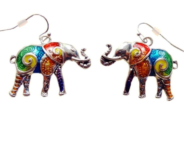 DianaL Boutique Colorful Enameled Silver Plated Lucky Elephant Earrings Gift Boxed Fashion Jewelry: