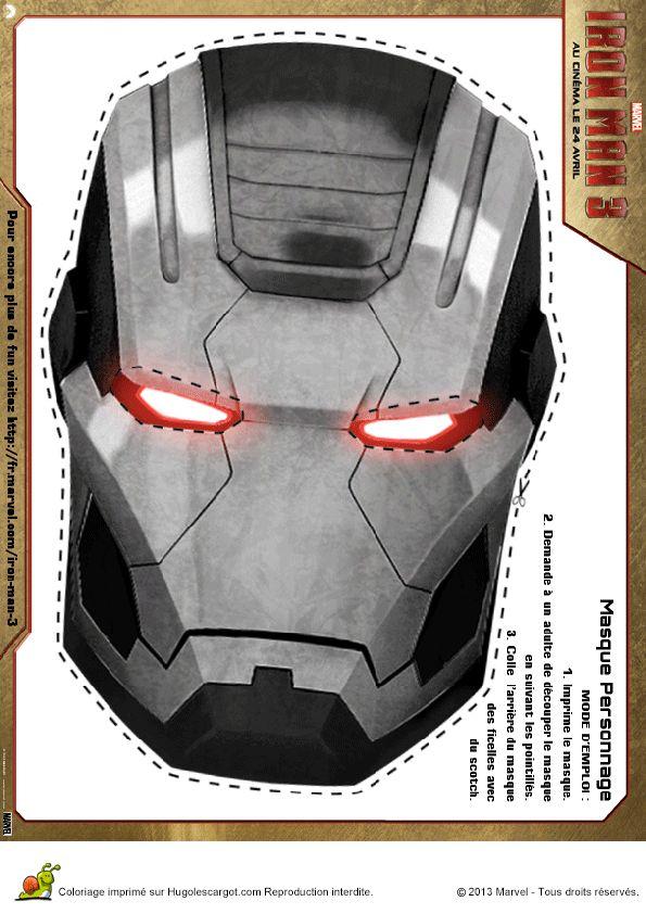 Masque gris d iron man imprimer et d couper - Masque super heros imprimer ...