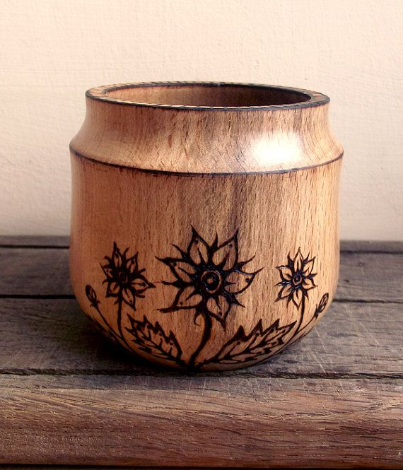Wood Pot  Turned Wood pot with Wood Burning by FluffyFenris [Good shape - needs a lid]
