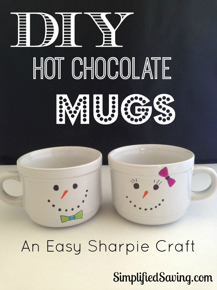 DIY Hot Chocolate Mugs {An Easy Sharpie Craft}