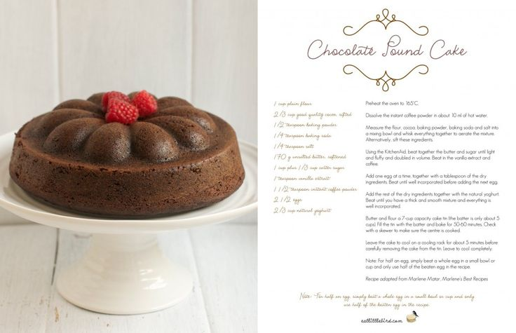 Chocolate Pound Cake. Recipe by Marlene Matar