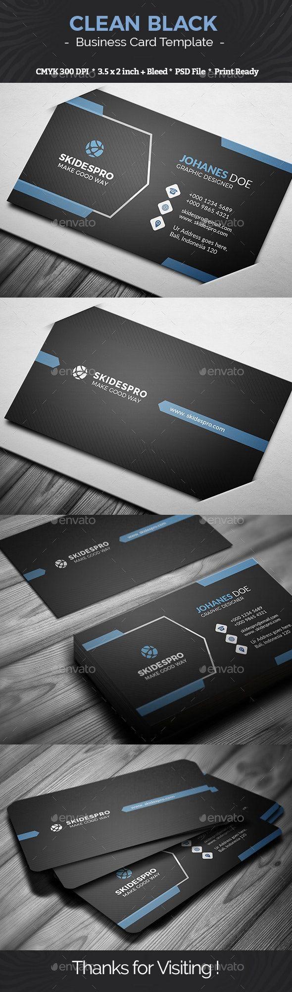 Clean Black Unique Business Cards Business Card Design Creative Business Card Template Design
