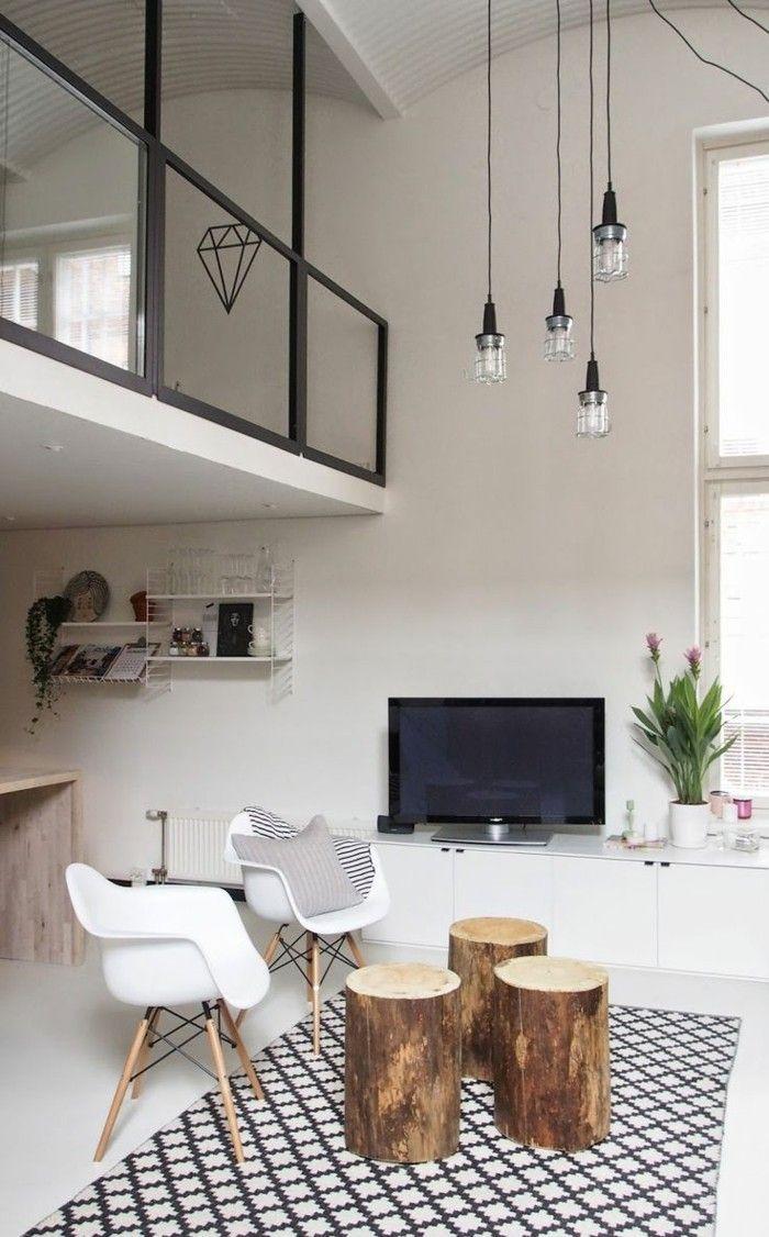 joli salon desprit loft et tapis blanc noir salon moderne avec plafond haut - Model Ede Salon Moderne Blanc