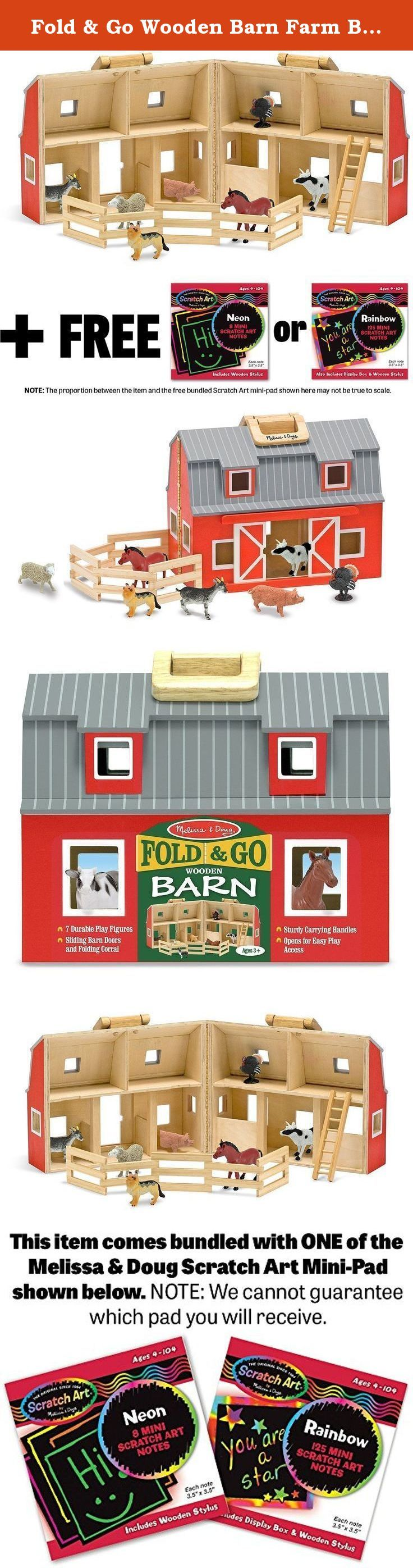 """Fold & Go Wooden Barn Farm Blocks 36-piece Play Set + FREE Melissa & Doug Scratch Art Mini-Pad Bundle [37006]. Young MacDonalds will enjoy """"down on the farm"""" fun with this fully assembled, wooden barn. Two-story barn is stocked with seven realistic plastic farm animals, a wooden ladder and a folding corral. Chunky handles let you take your bit of """"country"""" wherever you go! This series is made up of the items below (EACH SOLD SEPARATELY): • BCC9M9582-000077200M19 ( Farm Blocks 36-piece…"""