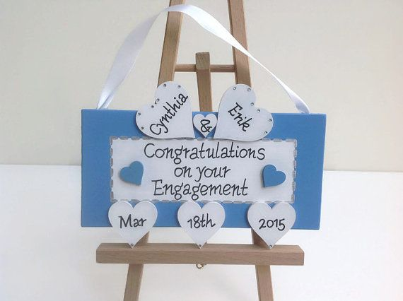 Unique engagement gift and keepsake. Personalized engagement sign. Engagement sign personalised with couples names