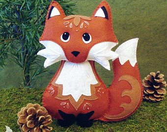 Animal felt PDF pattern Felt Hand Sewing Fox by ForestFriendsShop