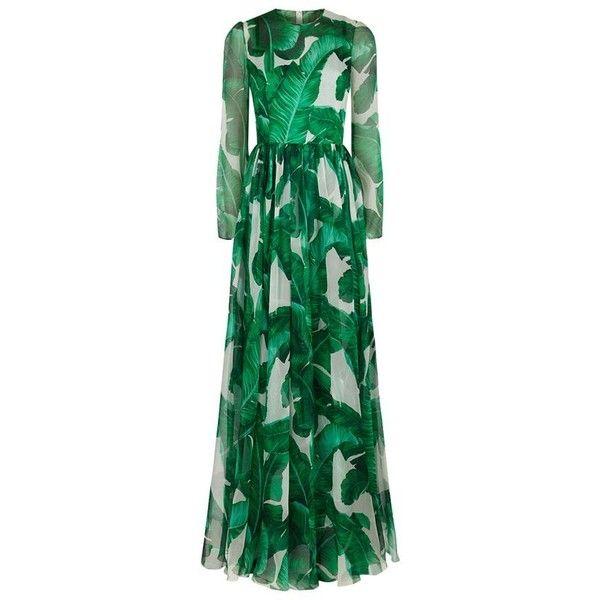 Dolce & Gabbana Palermo Botanical Maxi Dress ($3,795) ❤ liked on Polyvore featuring dresses, silk maxi dress, semi sheer dress, floral pattern dress, leaf dress and green dress