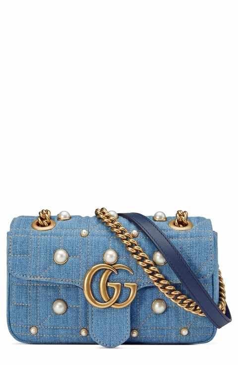b5ed32a64655 Gucci GG Marmont 2.0 Imitation Pearl Embellished Denim Crossbody Bag ...