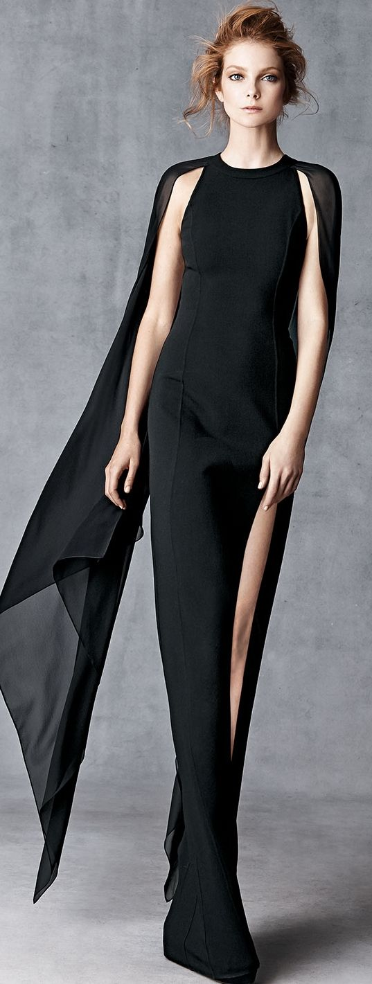 Michael Kors  Wool-Crepe Gown with Cape Back