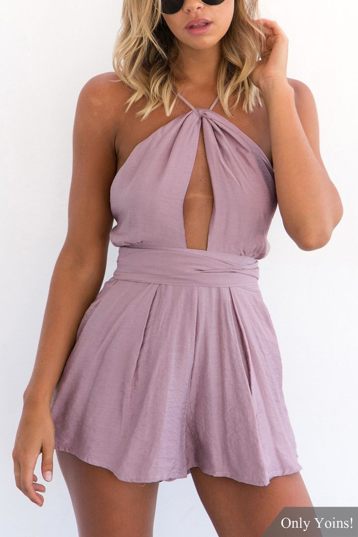 This playsuit is in sexy and fashion style. It is featured with backless, self-tie and cut out. Juat pair it with high heels to get a complete look.