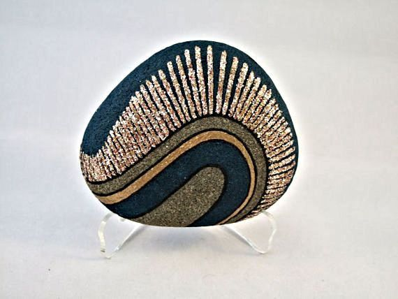 Painted Rock, Unique 3D Art Object, OOAK, Home Decor, Office Decor, Radiance Design, Teal Blue, Gold, Silver, Copper, Gift for Him or Her via Etsy