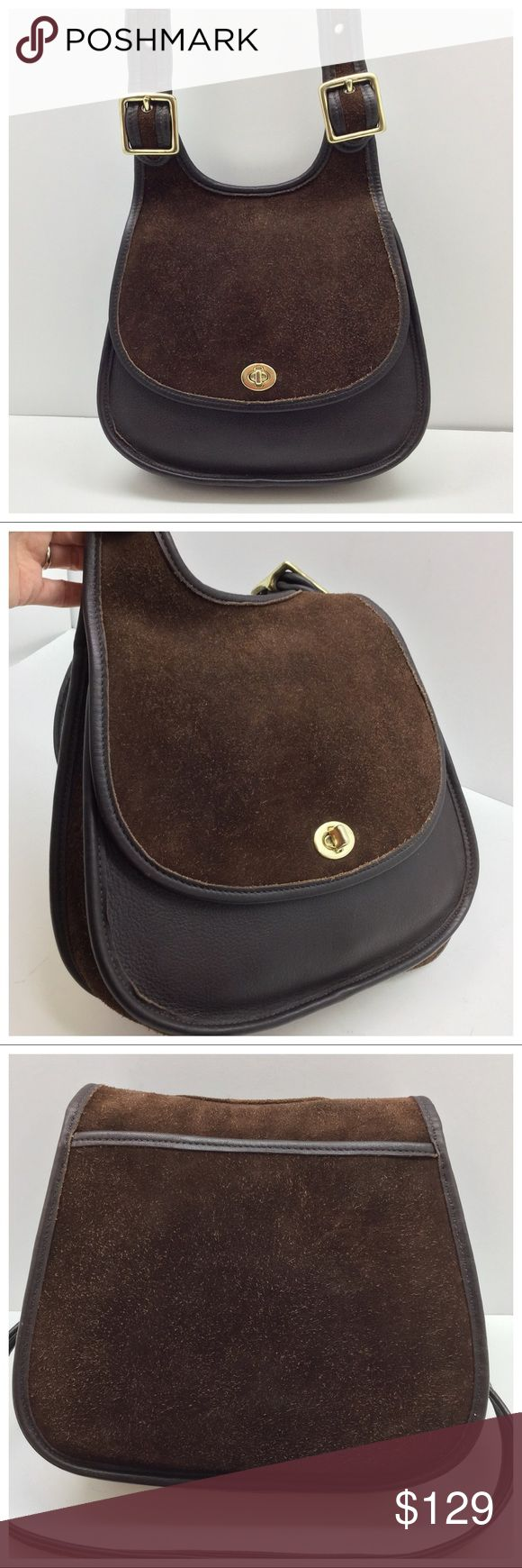 {Coach} Vintage Berkeley Saddle Bag 🚫Trades🚫Holds🚫Price talk in comments Authentic Coach Berkeley Saddle Bag  - Mahogany suede & pebbled leather  - Brass hardware, turnlock flap closure  - Suede/leather interior w/ zip pocket  - Back slip pocket  - Made in USA in 1996  - Pre-loved so not pristine like-new but good vintage condition, there are no bare spots on suede, hardware has some scratches & tarnish Coach Bags Crossbody Bags