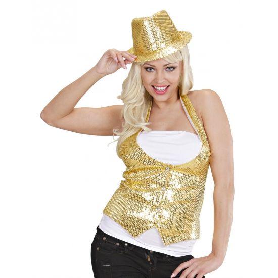 Glitter & Glamour themafeest: Gouden gilet met pailletten voor dames. Gilet voor dames met gouden pailletten en knoopsluiting.