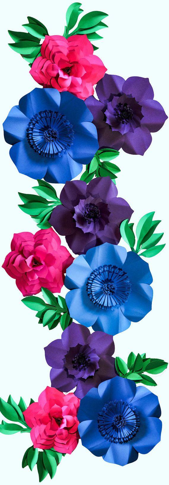 Paper Flower Backdrop, Paper Flowers, Wedding Centerpiece, Colorful Backdrop